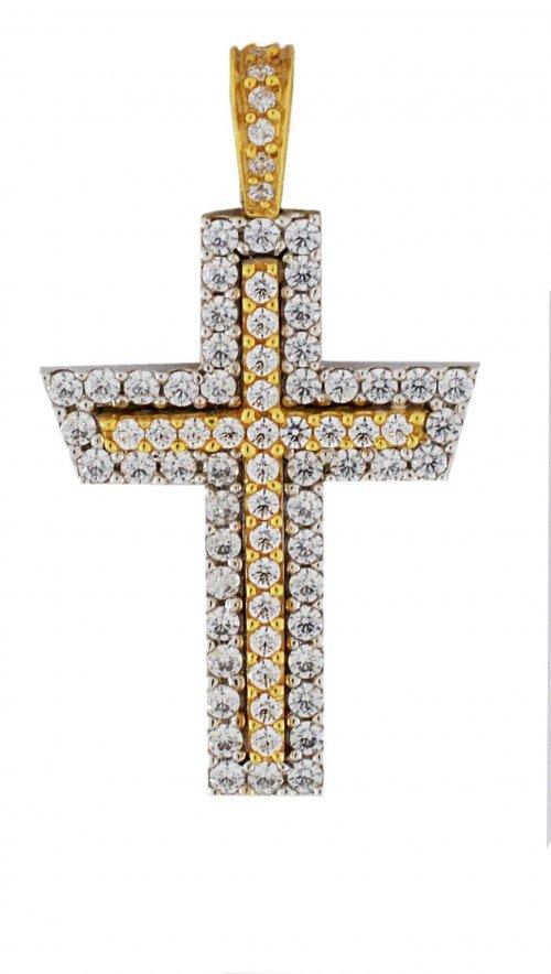 78893facb9 Σταυρός Facad oro χρυσός και λευκόχρυσος 14 καράτια με ζιργκόν ...