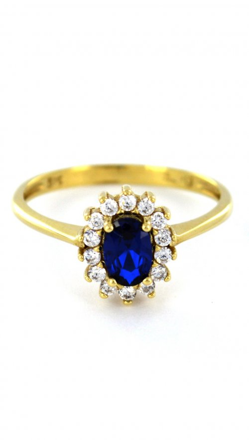 Χρυσό δαχτυλίδι ροζέτα 14 καράτια με μπλέ ζαφείρι και ζιργκόν ... 6569e89e75d