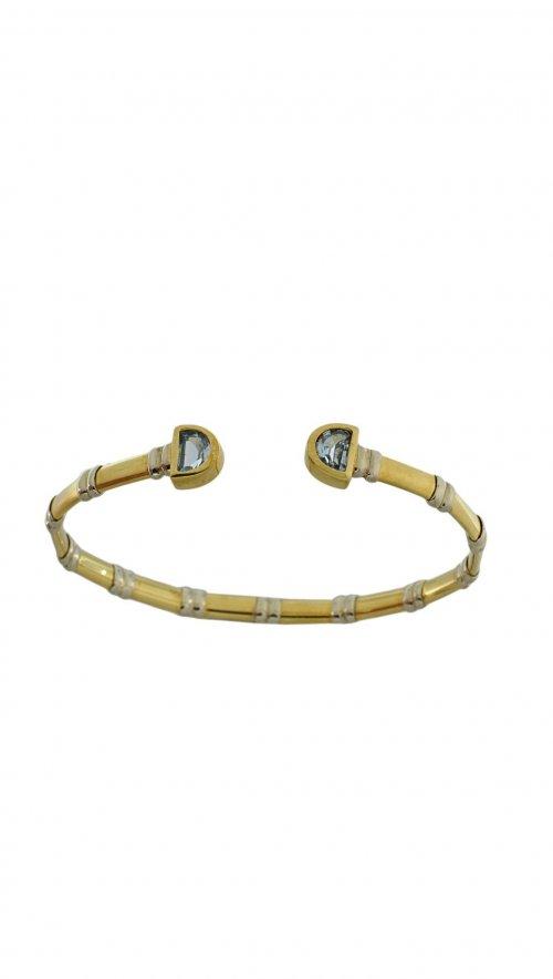 Βραχιόλι χειροπέδα χρυσό 14 καράτια με ζιργκόν  da1cc19af8e