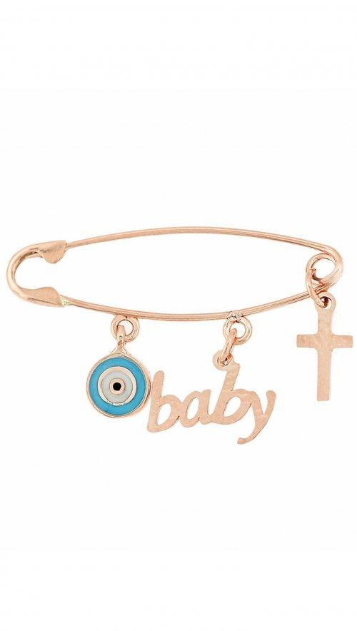 Ροζ χρυσό φυλαχτό για νεογέννητο με σταυρό 23d57c02495