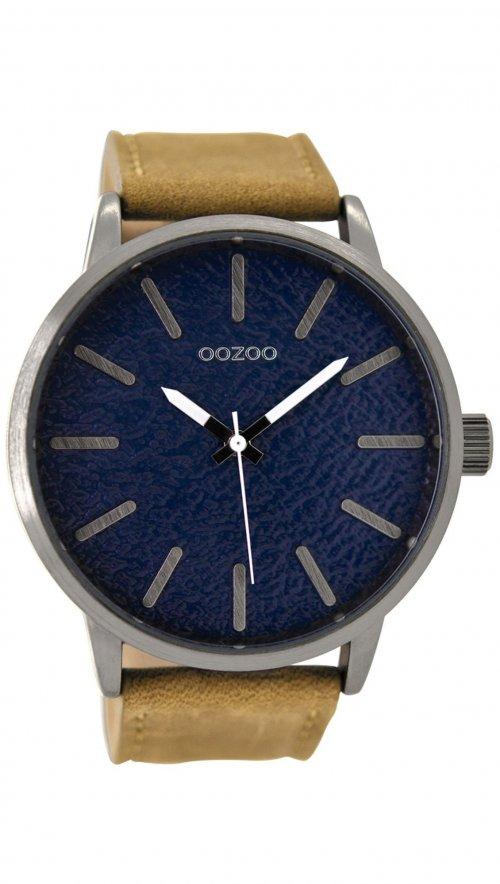 Ρολόι OOZOO με καφέ λουράκι και μπλε καντράν C9026  eca2efdd401