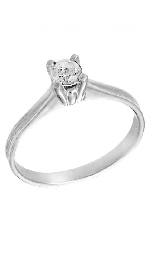 Δαχτυλίδι μονόπετρο λευκόχρυσο 14 καράτια με λευκό ζιργκόν swarovski ... eef8de63d9d