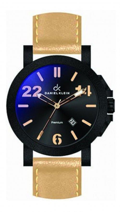 Ρολόι Daniel Klein με μπέζ λουράκι και μαύρο καντράν DK10340-1 ... f99650879fc