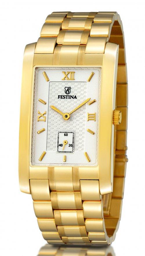 Χρυσό ρολόι Festina τετράγωνο 18 καρατίων με μπρασελέ FO481 1 ... 3a9c5a894ce