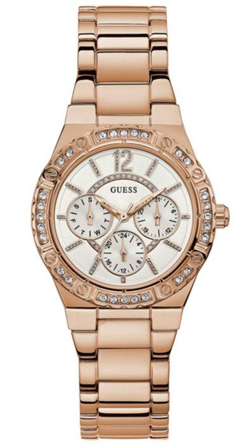 Ρολόι Guess πολλαπλών ενδείξεων με ροζ χρυσό μπρασελέ και κρύσταλλα W0845L3 f1c5e96cccf