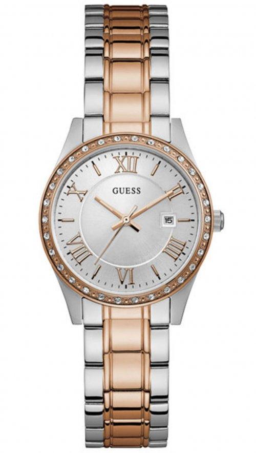 Ρολόι Guess ημερομηνίας με ασημί ροζ χρυσό μπρασελέ και κρύσταλλα W0985L3 18426455162