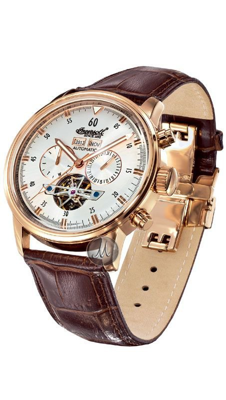 Ρολόι Αυτόματο Ingersoll Okies με καφέ λουράκι IN4511RSL ... ae1cab57ecf