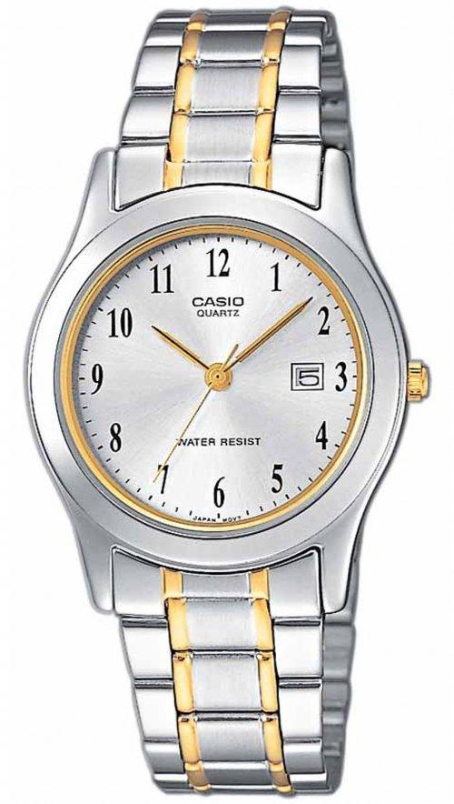 Γυναικείο ρολόι Casio Collection ημερομηνίας με ασημί και χρυσό μπρασελέ  LTP-1264PG-7BEF 9ef0db0584b