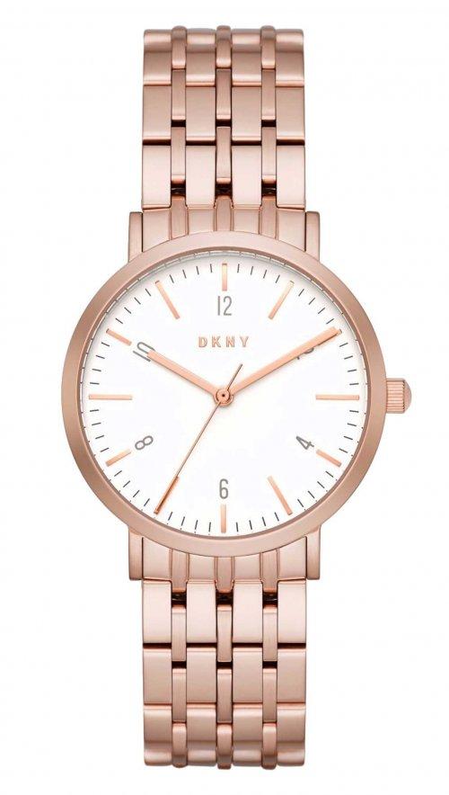 Ρολόι DKNY με ροζ χρυσό μπρασελέ και λευκό καντράν NY2504 ... 2ada627989d