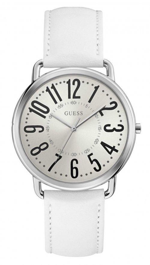 Ρολόι Guess με λευκό λουράκι και ασημί καντράν W1068L1  246d6d38831