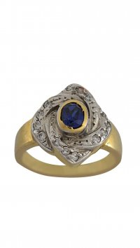 Watchmarket.gr Gold 14 carat ring with white and blue zircon