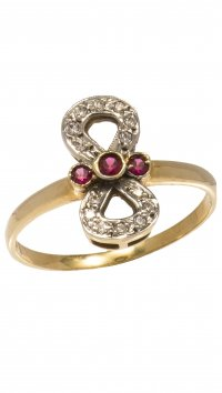Watchmarket.gr Gold and whitegold 14 carat infinity ring with zircon and ruby