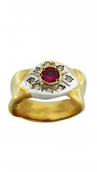 Watchmarket.gr Gold 14 carat ring with red zircon