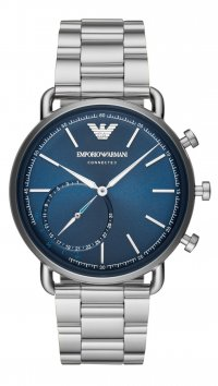 Emporio Armani Ρολόι Emporio Armani Connected Hybrid Smartwatch με ασημί μπρασελέ ART3028