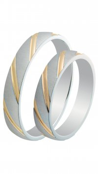 Watchmarket.gr Silver 925 wedding rings with gold lines 3.6mm